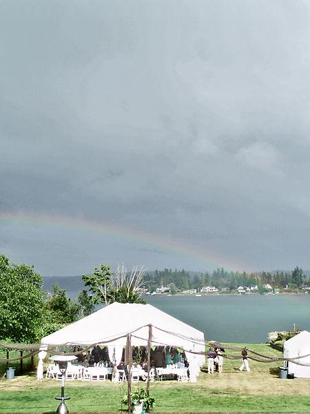 Rainbow over tent